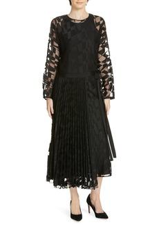 Hugo Boss BOSS Dalace Pleat & Geo Print Midi Dress