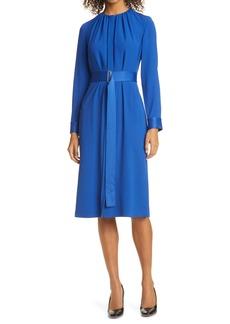 Hugo Boss BOSS Dibanora Satin Accent Long Sleeve Dress