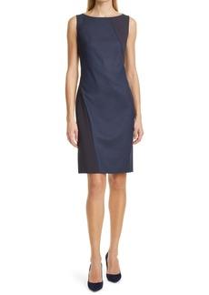 Hugo Boss BOSS Dipatch Colorblock Stretch Wool Sleeveless Sheath Dress