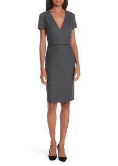 Hugo Boss BOSS Doritala Geometric Wool Blend Sheath Dress (Regular & Petite)