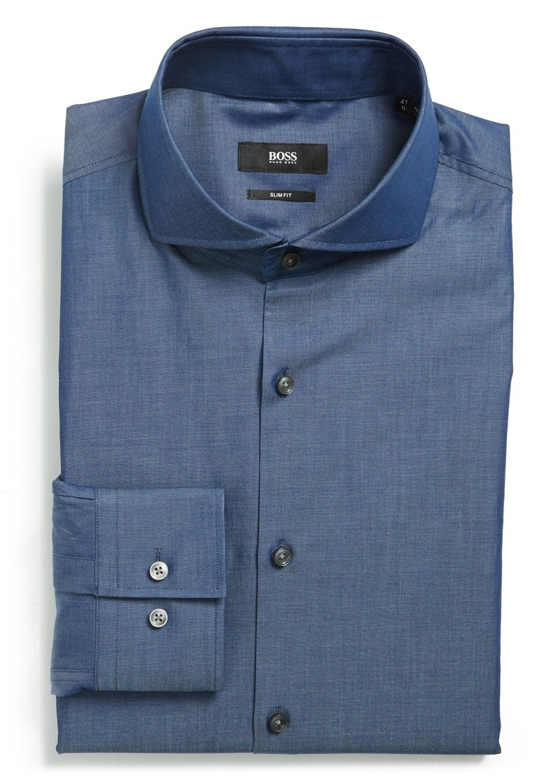 Sale hugo boss boss 39 dwayne 39 ww slim fit solid dress for Hugo boss dress shirts
