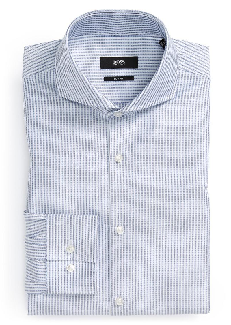 Hugo boss boss 39 dwayne 39 slim fit stripe dress shirt for Hugo boss slim fit dress shirt