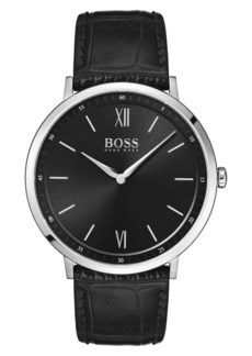 Hugo Boss BOSS Essential Ultra Slim Leather Strap Watch, 40mm