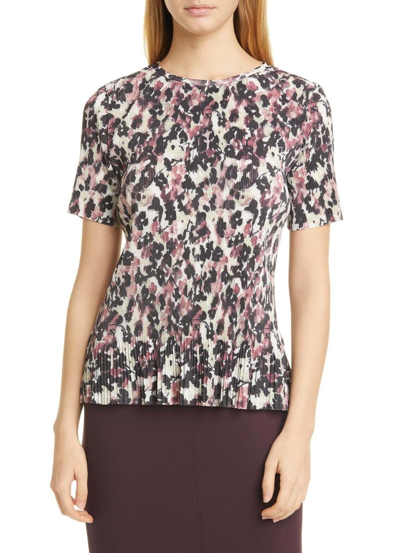 Hugo Boss BOSS Etalis Floral Pleated Short Sleeve Top
