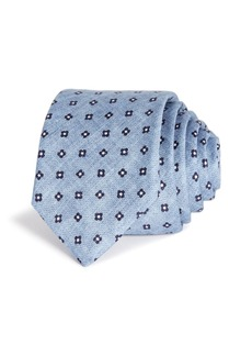 Hugo Boss BOSS Floral Grid Neat Cotton Skinny Tie