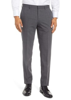 Hugo Boss BOSS Genesis Patterned Slim Fit Pleated Wool Dress Pants