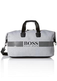 Hugo Boss BOSS Green Men's Pixel Jersey Holdall Weekender Bag Medium Grey