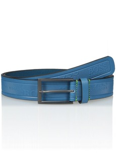Hugo Boss BOSS Green Men's Tino Logo Embossed Leather Belt