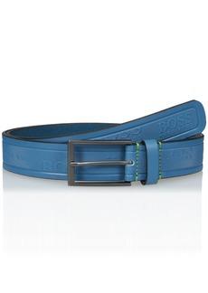 Hugo Boss BOSS Green Men's Tino Logo Embossed Leather Belt open blue