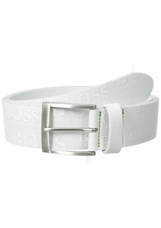 Hugo Boss Boss Green Men's Torialo Printed Boss Logo Belt white