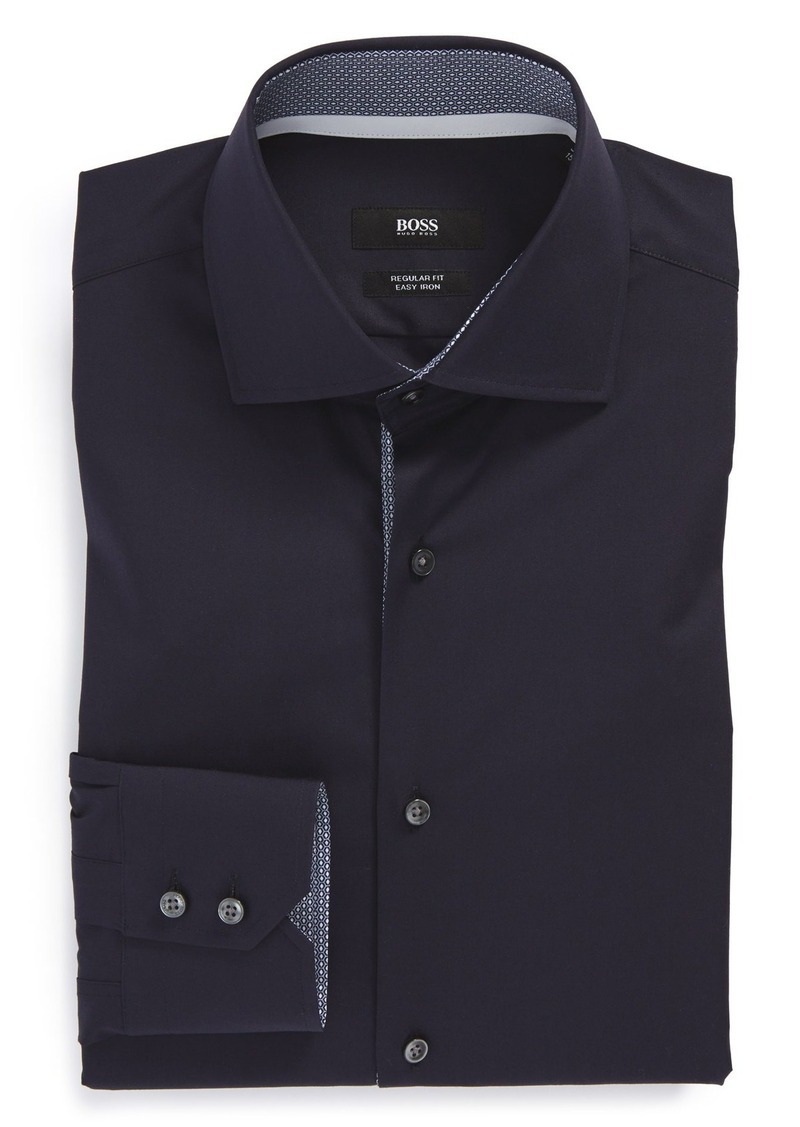 Hugo boss boss 39 eraldin 39 ww regular fit easy iron solid for Regular fit dress shirt