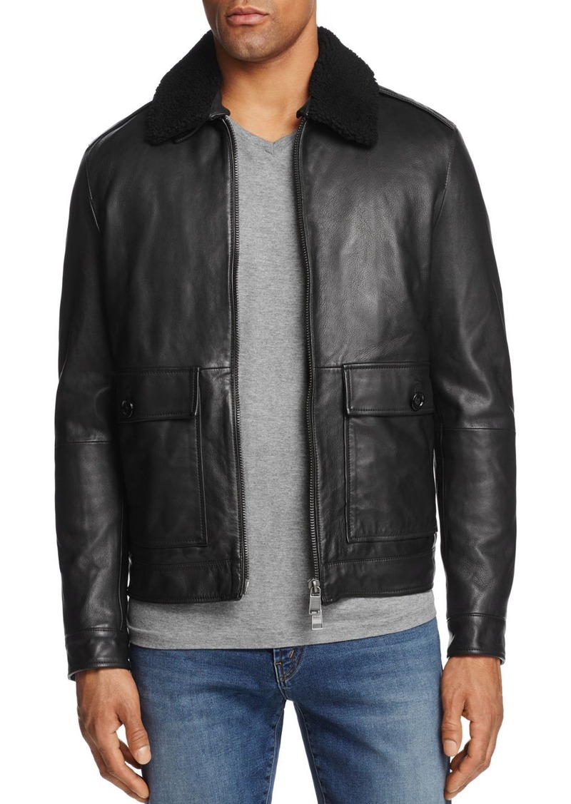 522be6ef7b3 BOSS Hugo Boss Leather Shearling Collar Bomber Jacket - 100% Exclusive