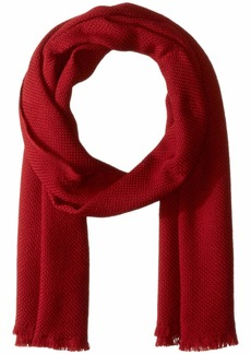BOSS Hugo Boss Men's Canno Knitted Wool Scarf dark red One size