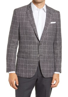 Hugo Boss BOSS Hutsons4 Trim Fit Windowpane Wool & Linen Sport Coat