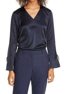 Hugo Boss BOSS Ialore Tie Cuff Silk Blouse