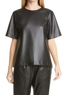 Hugo Boss BOSS Iledy Faux Leather Short Sleeve Top