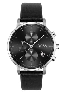 Hugo Boss BOSS Integrity Chronograph Leather Strap Watch, 43mm
