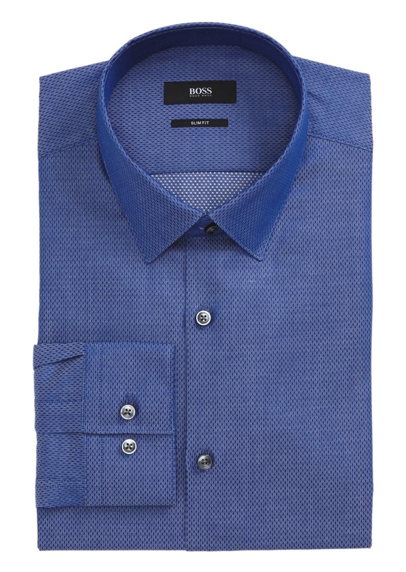Hugo boss boss isko slim fit textured dress shirt dress for Hugo boss slim fit dress shirt