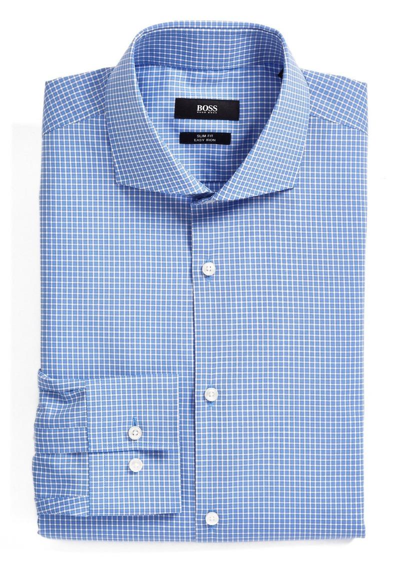 Hugo boss boss 39 jason 39 ww slim fit easy iron check dress for Hugo boss jason shirt