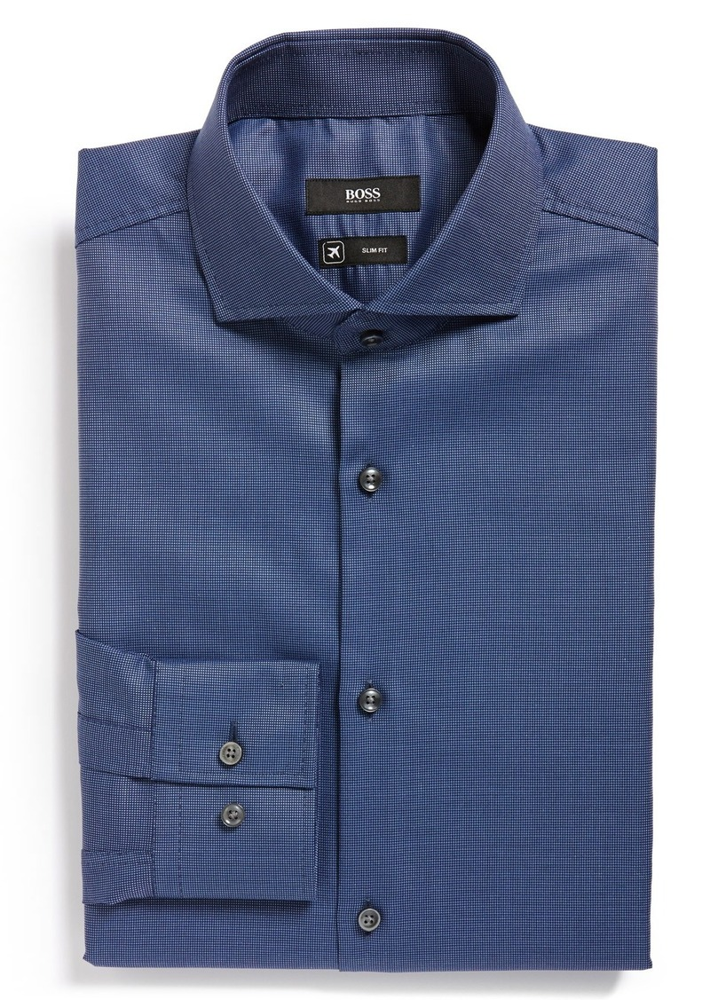 Hugo boss boss 39 jason 39 ww slim fit travel dress shirt for Hugo boss jason shirt