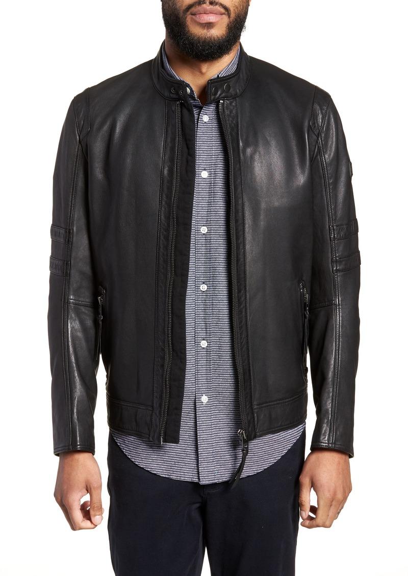 6b0dcf8b77a Hugo Boss BOSS Jaylo Slim Fit Leather Moto Jacket | Outerwear