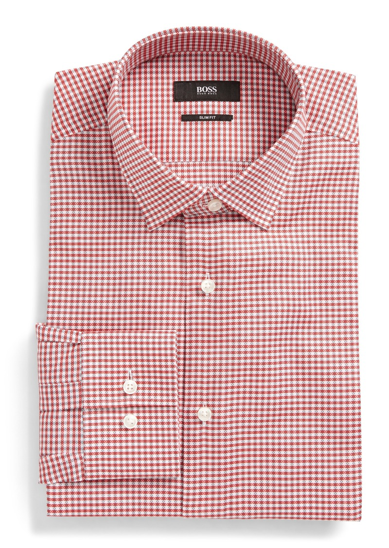 61660c52 On Sale today! Hugo Boss BOSS Jenno Slim Fit Easy Iron Plaid Dress Shirt