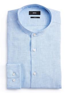 Hugo Boss BOSS Jordi Slim Fit Linen Band Collar Dress Shirt
