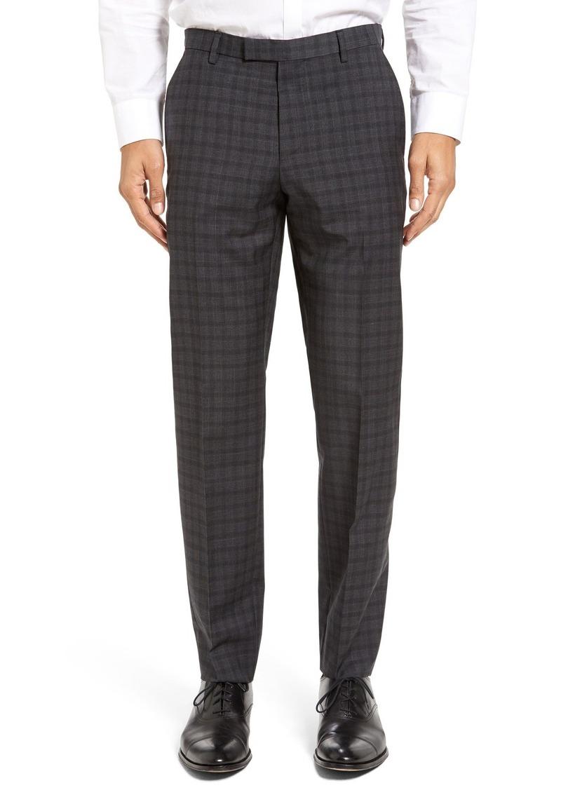 Hugo Boss BOSS Leenon Flat Front Plaid Wool Trousers