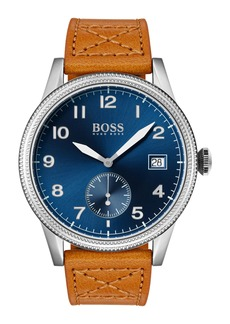 Hugo Boss BOSS Legacy Round Leather Strap Watch, 44mm
