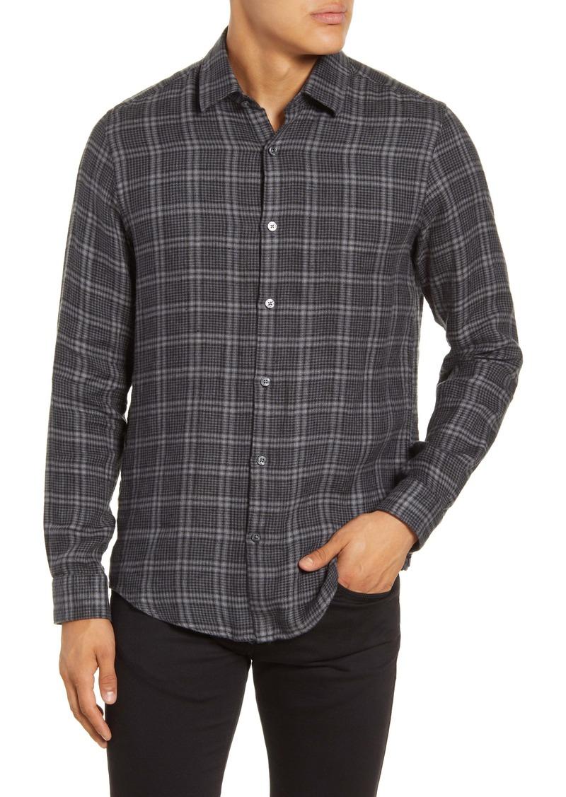 Hugo Boss BOSS Lukas Regular Fit Plaid Button-Up Linen Flannel Shirt