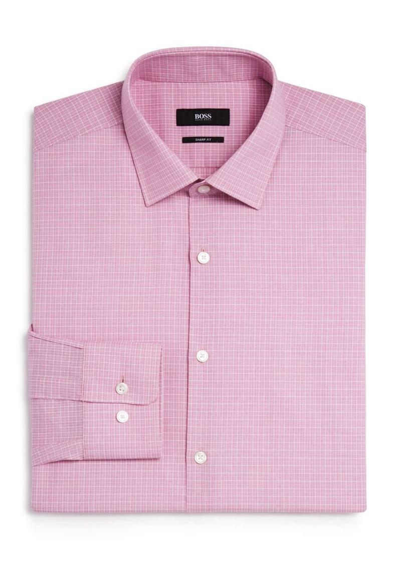 Hugo boss boss marley micro cross stitch check sharp fit for Hugo boss dress shirts