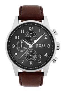 Hugo Boss BOSS Navigator Chronograph Leather Strap Watch, 44mm