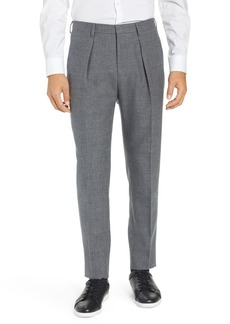 Hugo Boss BOSS Ole Pleated Solid Wool & Cotton Trousers