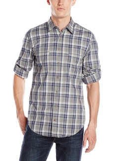 Hugo Boss BOSS Orange Men's Califoe Navy Plaid Long Sleeve Flannel Shirt