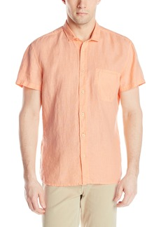 Hugo Boss BOSS Orange Men's Ezippoe 1 Linen Garment Dyed Short Sleeve Chest Pocket Shirt