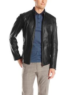 Hugo Boss BOSS Orange Men's Jermon Leather Biker Jacket   Regular