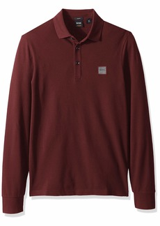 Hugo Boss BOSS Orange Men's Passerby Long Sleeve Polo with Chest Logo Patch Open red