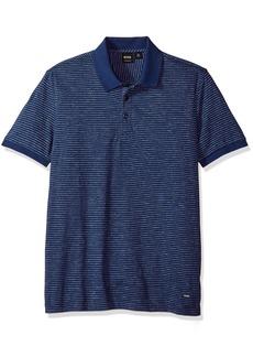 Hugo Boss BOSS Orange Men's Short Sleeve Mouline Stripe Cotton Blend Polo