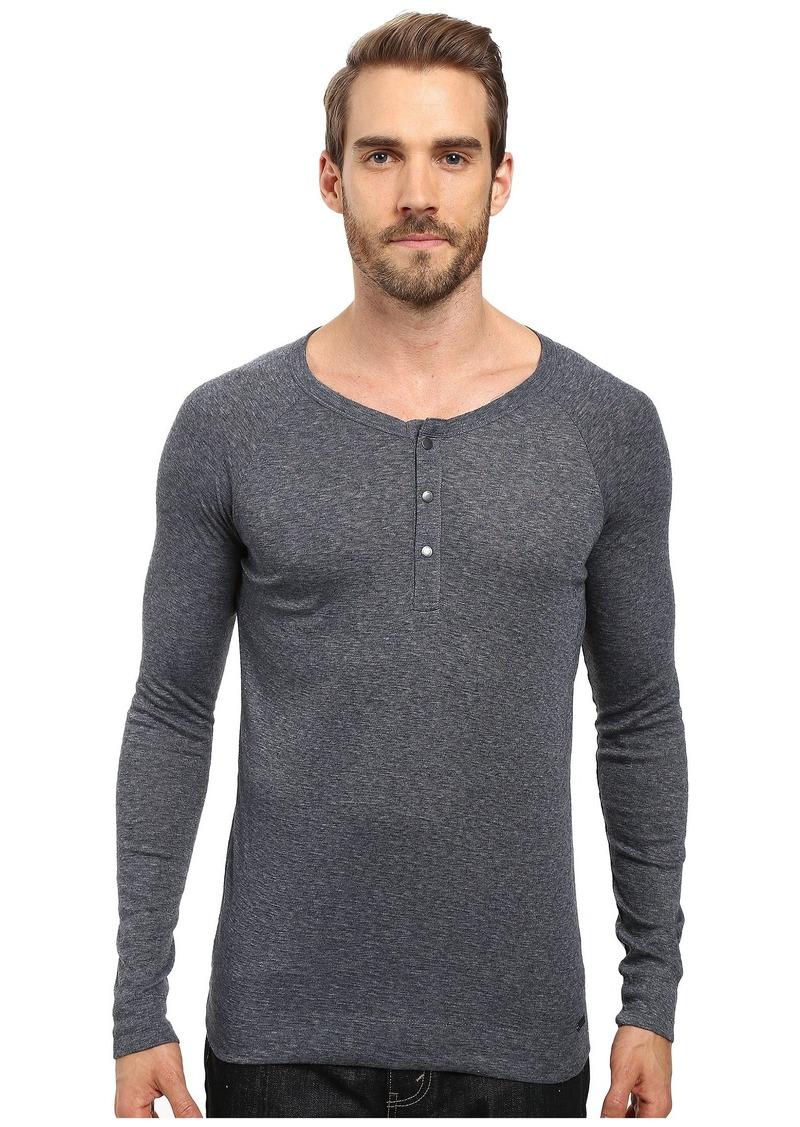 Hugo Boss BOSS Orange Men's Tambow Melange Rib Henley Shirt  XXX-Large