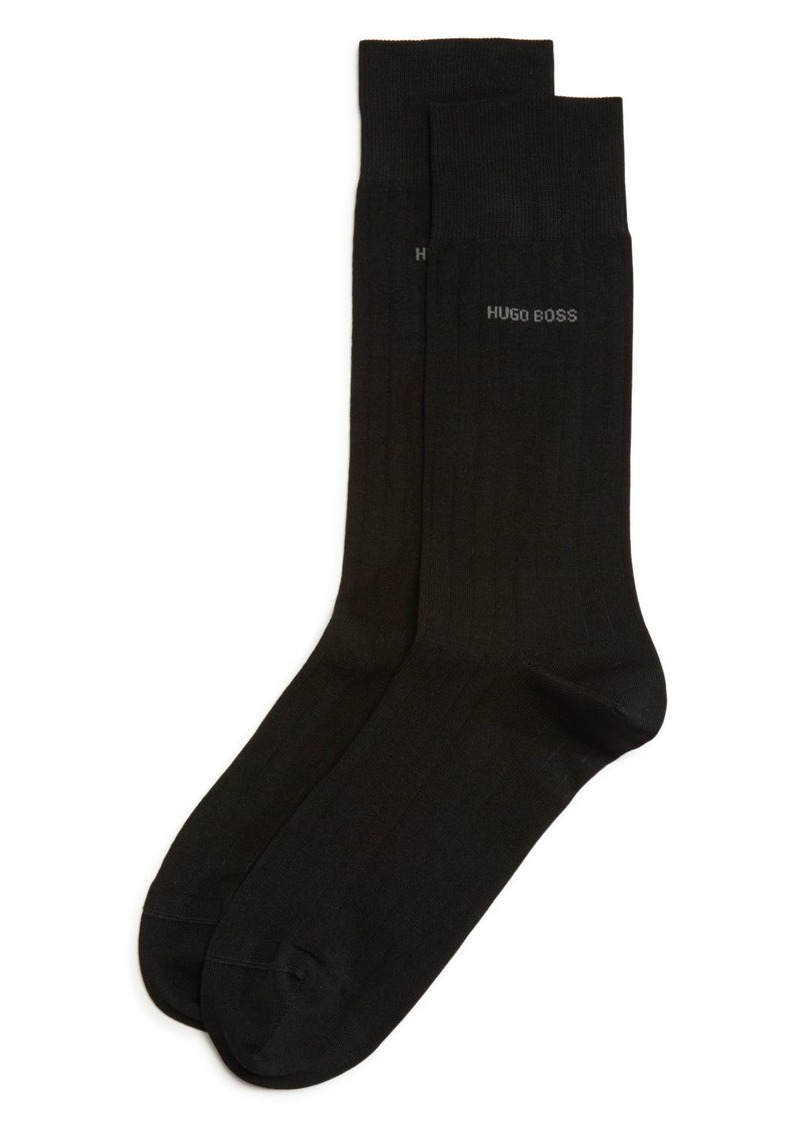 Hugo Boss BOSS Peter Ribbed Solid Dress Socks