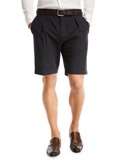 Hugo Boss Pierce Wide Pleated Seersucker Shorts