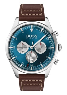 Hugo Boss BOSS Pioneer Chronograph Leather Strap Watch, 44mm