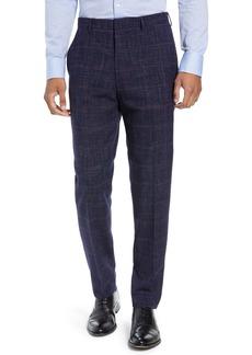 Hugo Boss BOSS Pirko Flat Front Plaid Wool Blend Trousers