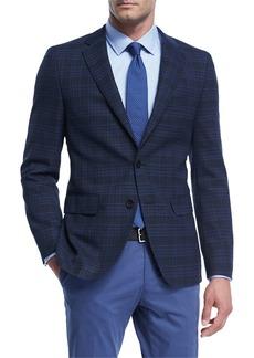 Hugo Boss Plaid Hopsack Stretch-Wool Sport Coat