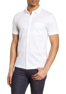 Hugo Boss BOSS Puno Slim Fit Short Sleeve Button-Up Knit Shirt