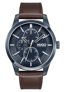 Hugo Boss BOSS Real Multifunction Leather Strap Watch, 46mm