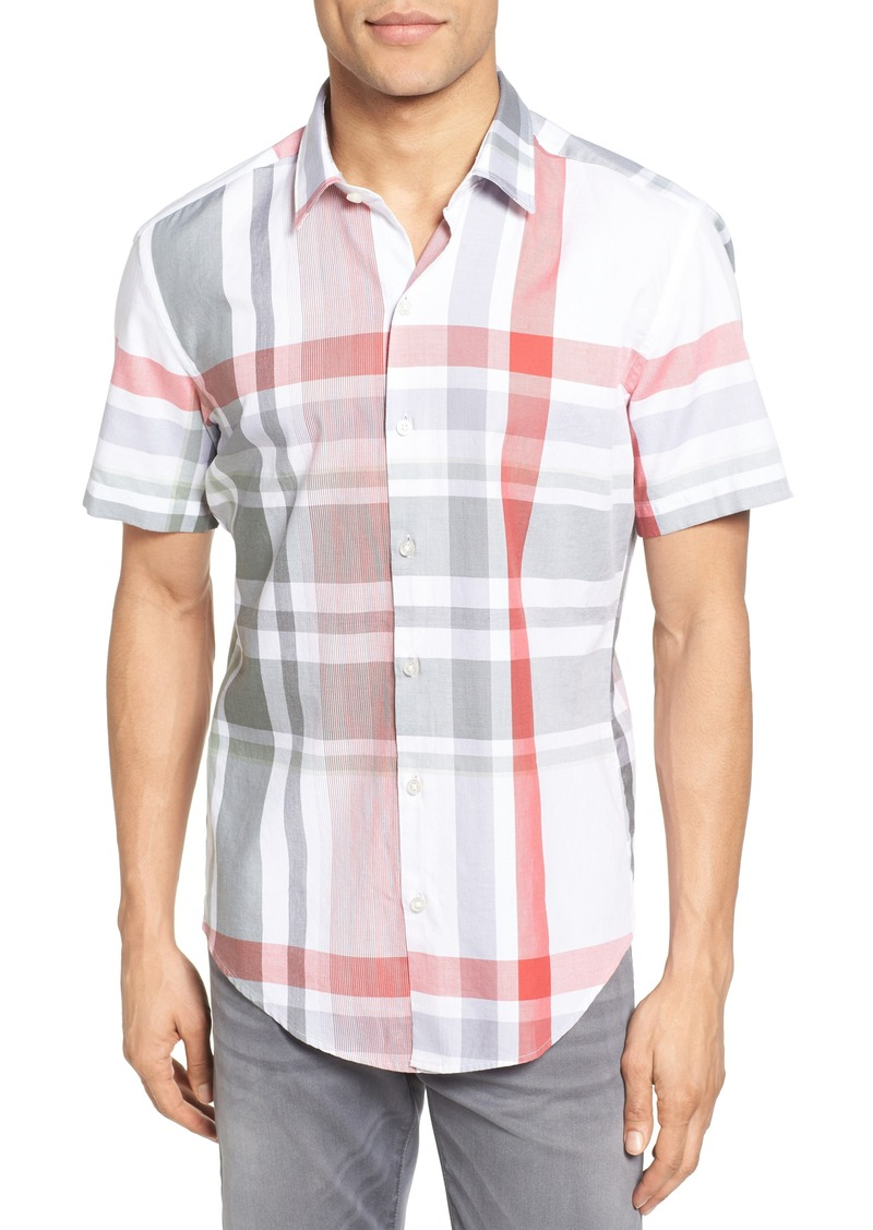 Hugo Boss BOSS Robb Sharp Fit Plaid Sport Shirt