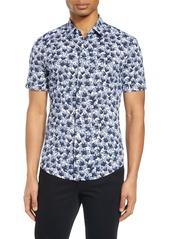 Hugo Boss BOSS Robb Slim Fit Floral Short Sleeve Button-Up Performance Shirt