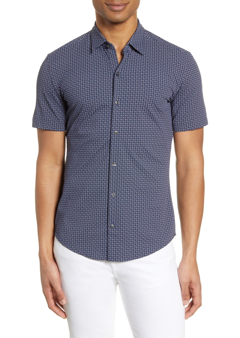 Hugo Boss BOSS Robb Slim Fit Mini Floral Short Sleeve Button-Up Performance Shirt