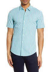 Hugo Boss BOSS Robb Slim Fit Stripe Short Sleeve Button-Up Performance Shirt